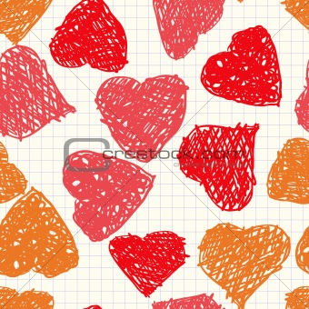 Background with hearts as picture of baby