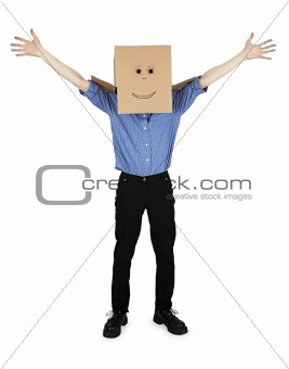 Funny man with box on head rejoices
