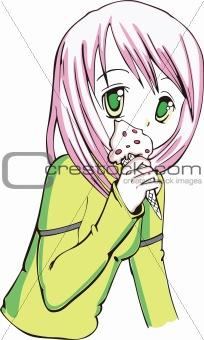 Little girl eating an ice cream