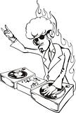 Cool DJ twisting records