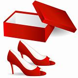 shoe box and red high heel