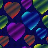 Background with halftone multicolor hearts
