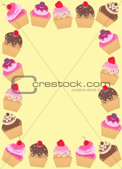 a frame of cupcakes