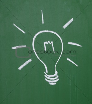 light bulb on blackboard idea mind