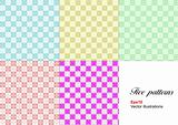 Set of five monochrome geometrical patterns. Vector illustration
