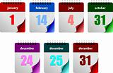 Seven abstract glossy calendar pages