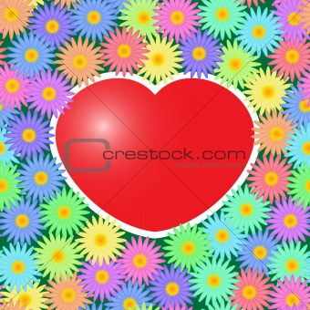 Background with red hearts and flowers