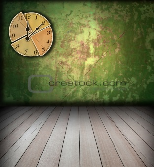 grunge interior with watch on wall