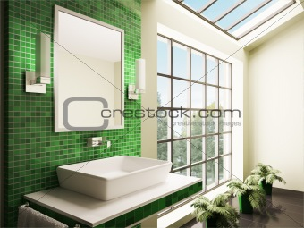 Bathroom with big window interior 3d