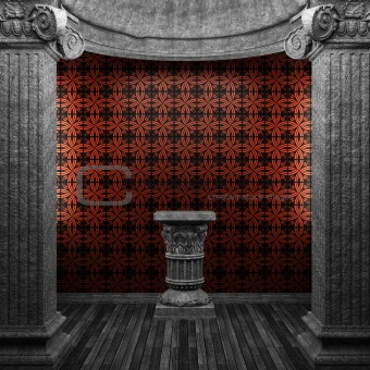 stone columns, pedestal and tile wall