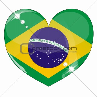 Vector heart with brazil  flag texture