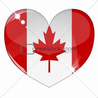 Vector heart with Canada flag texture