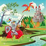Panorama with medieval castle, dragon and knight.