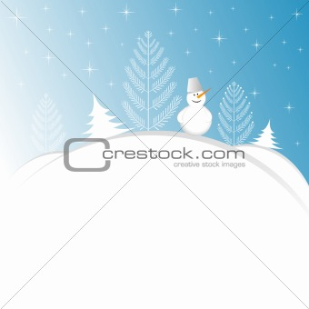 Blue Christmas background with snowman