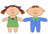 Rag dolls, boy and girl