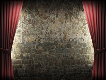 Red velvet curtain and stone wall