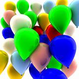 Many colored balloons