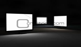 Three TV monitor