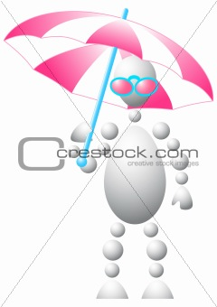 Man in pink sun-glasses with umbrella
