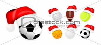 Santa hat on sport balls