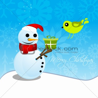 christmas card with snowman and bird