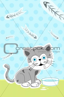 cat with fish bones