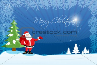 abstract merry christmas card with santa