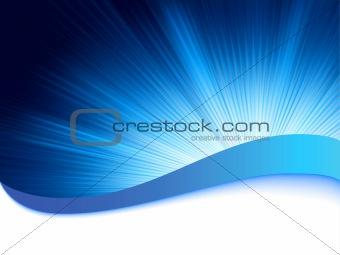 Blue background with burst rays. EPS 8