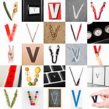 Collage of Letter V
