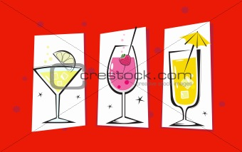 Three retro drinks isolated on red background