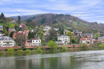 Houses at Neckar riverbank in Heidelberg