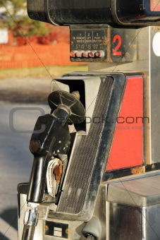 Old rusted gas pump