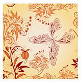 vector seamless floral background with butterfly