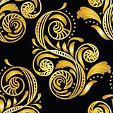 vector seamless golden floral background