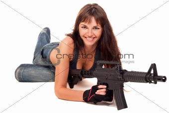 Armed girl posing