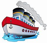 Big cartoon steamship