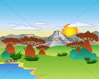 Cartoon African landscape