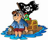 Cartoon pirate sailing on raft