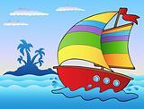 Cartoon sailboat near small island