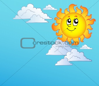 Cartoon Sun with clouds on blue sky