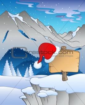 Christmas board in winter landscape