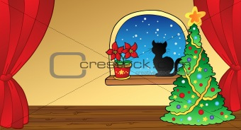 Christmas card with tree and cat