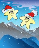 Christmas stars with hats