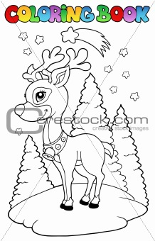 Coloring book Christmas reindeer 2