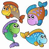 Four cartoon fishes