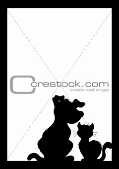Frame with cat and dog silhouette