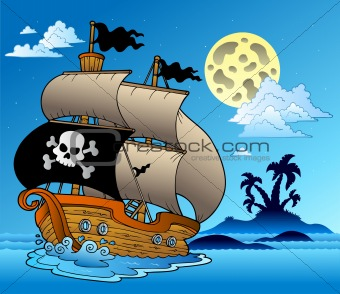 Pirate sailboat with island silhouette
