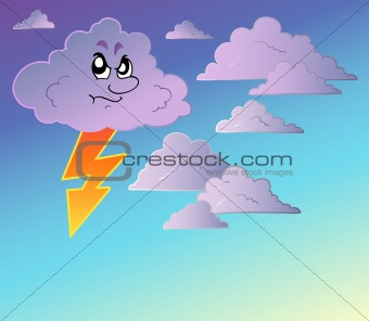 Stormy sky with cartoon clouds