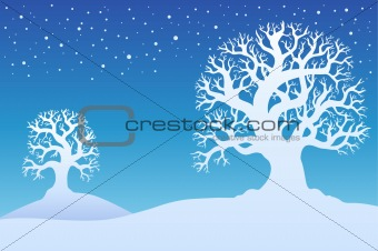Two winter trees with snow 1