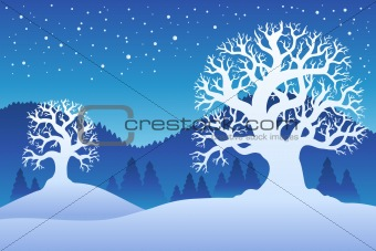 Two winter trees with snow 2